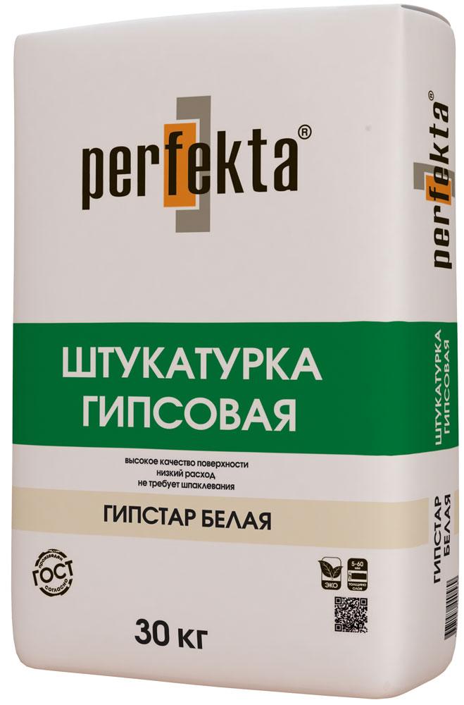 Фото - Штукатурка гипсовая Perfekta Гипстар (белая), 30 кг