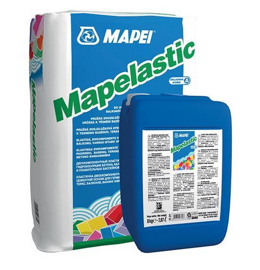 Фото - Mapei Mapelastic. Мапей двухкомпонентная гидроизоляция бетона, балконов, террас, ванных комнат, душевых и плавательных бассейнов.